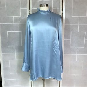 💥 Zara Woman satin shirt dress blue XL